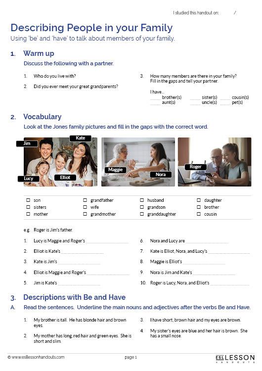 ESL Lesson Handouts - Describing-people-in-your-family