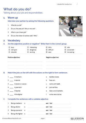 ESL Lesson Handouts - What-do-you-do